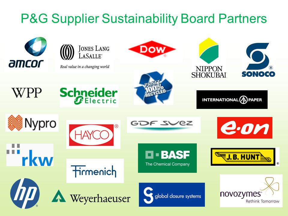 P&G Supplier Sustainability Board Partners