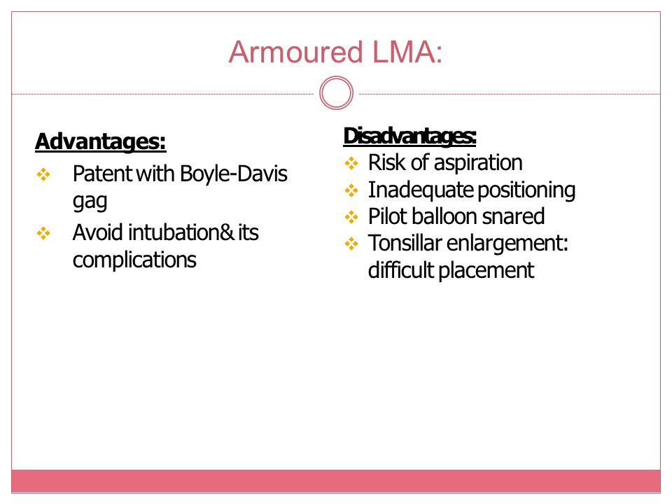 Armoured LMA: Disadvantages: Advantages: Risk of aspiration