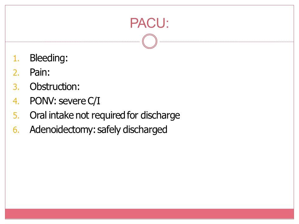 PACU: Bleeding: Pain: Obstruction: PONV: severe C/I