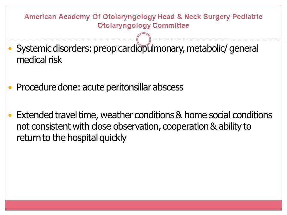 Procedure done: acute peritonsillar abscess