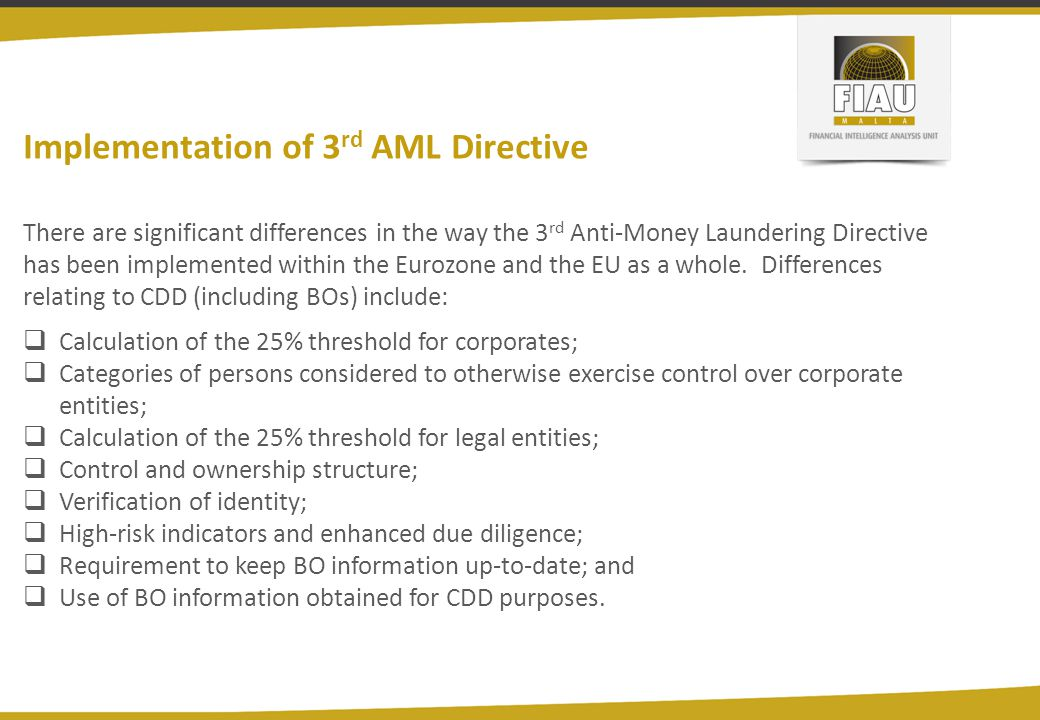 Implementation of 3rd AML Directive