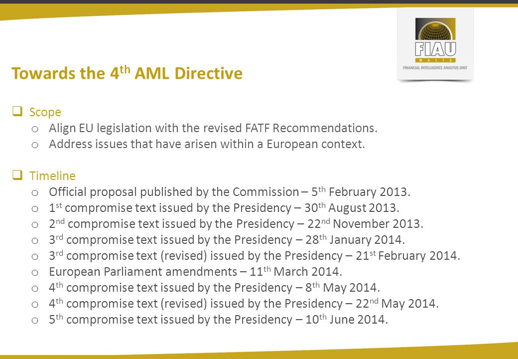 Towards the 4th AML Directive