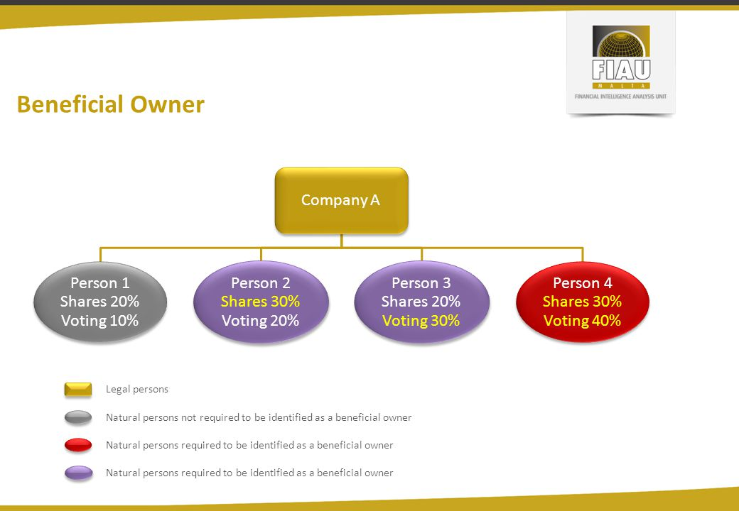 Beneficial Owner Company A Person 1 Shares 20% Voting 10%