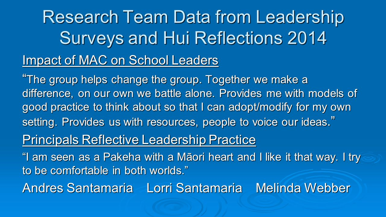 Research Team Data from Leadership Surveys and Hui Reflections 2014