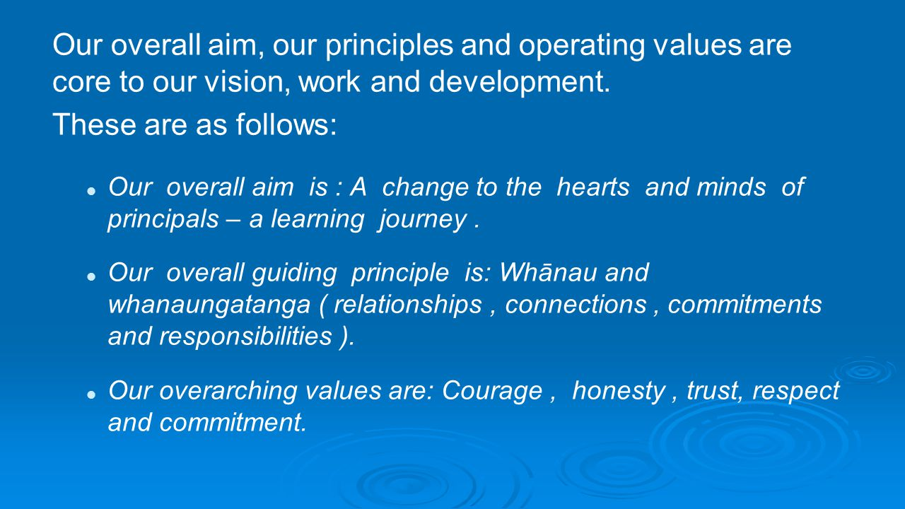 Our overall aim, our principles and operating values are core to our vision, work and development.
