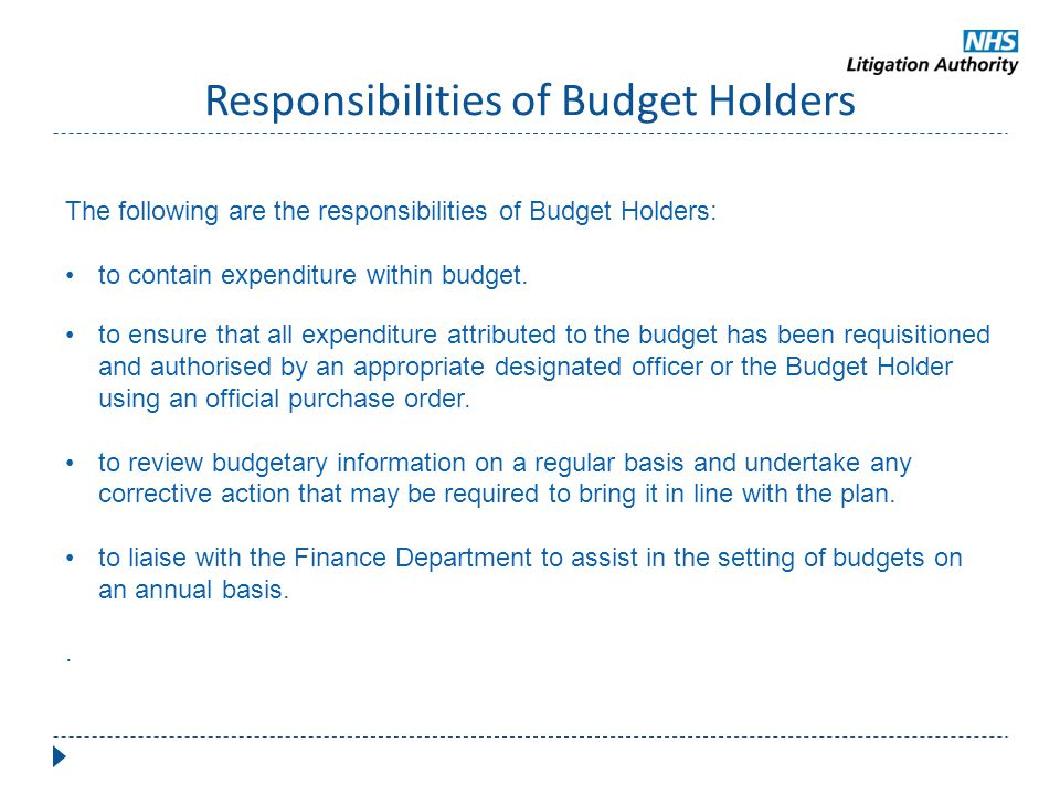 Responsibilities of Budget Holders