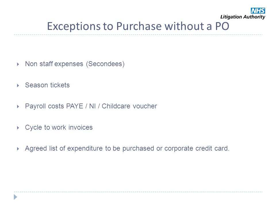 Exceptions to Purchase without a PO