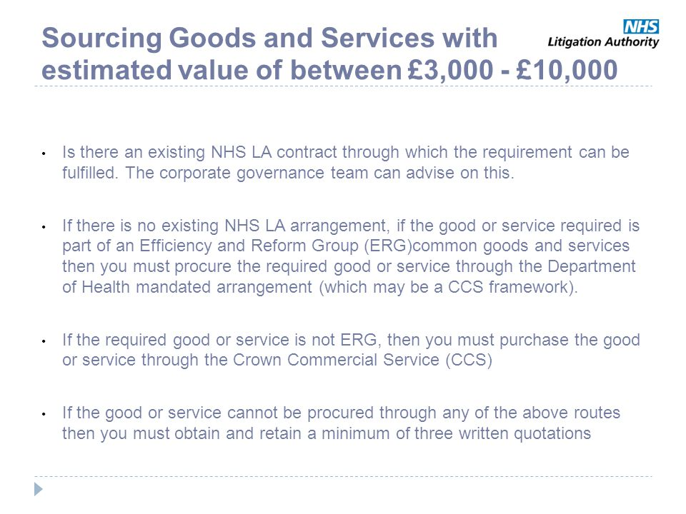 Sourcing Goods and Services with estimated value of between £3,000 - £10,000