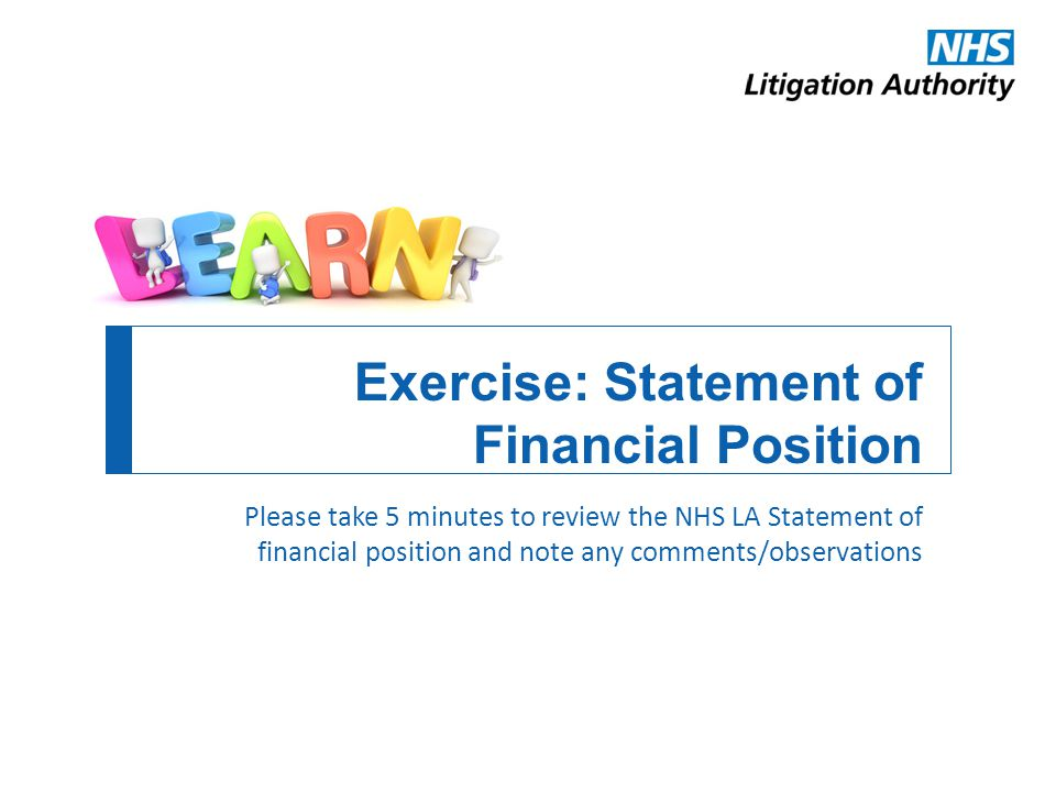 Exercise: Statement of Financial Position