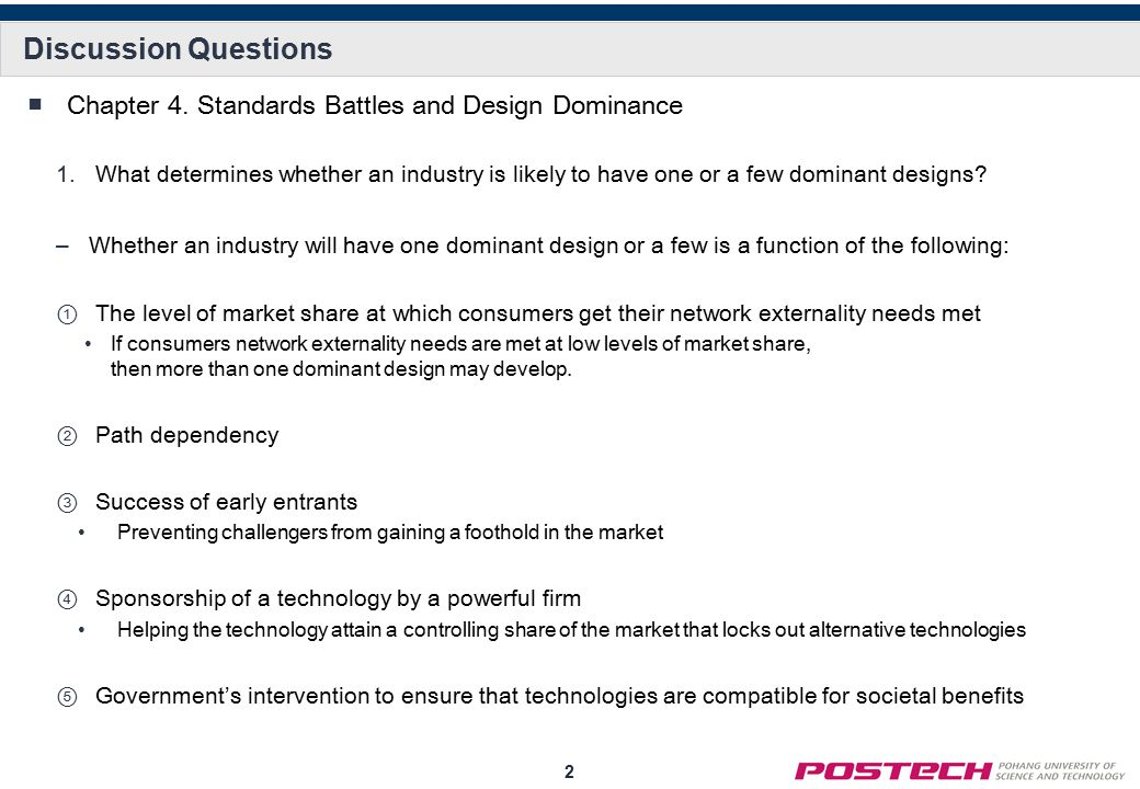 Discussion Questions Chapter 4. Standards Battles and Design Dominance