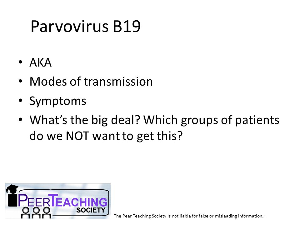 Parvovirus B19 AKA Modes of transmission Symptoms