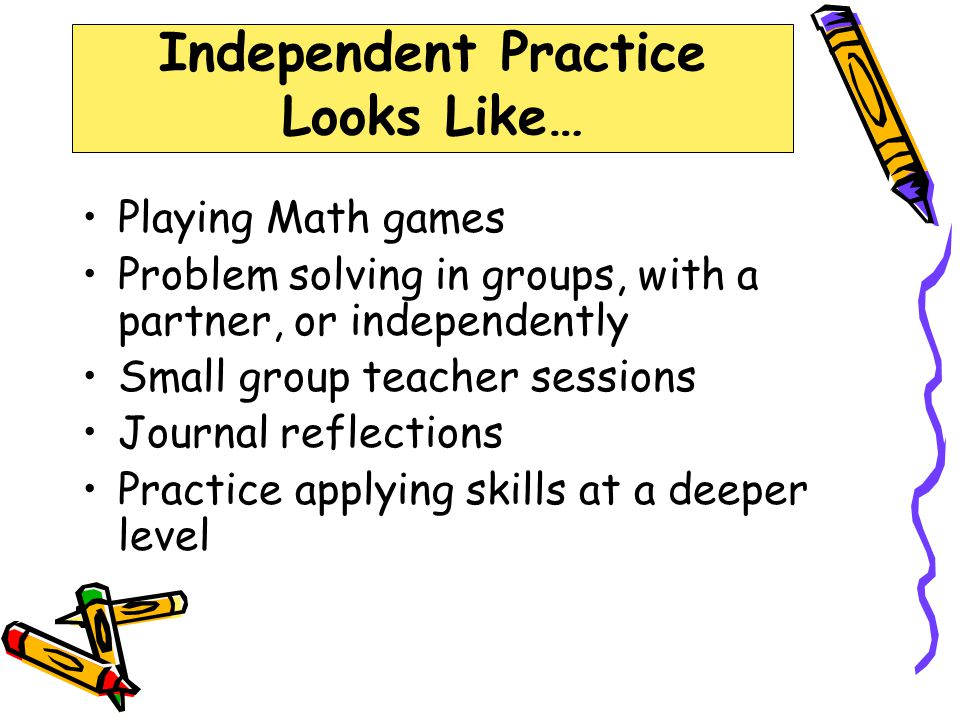 Independent Practice Looks Like…