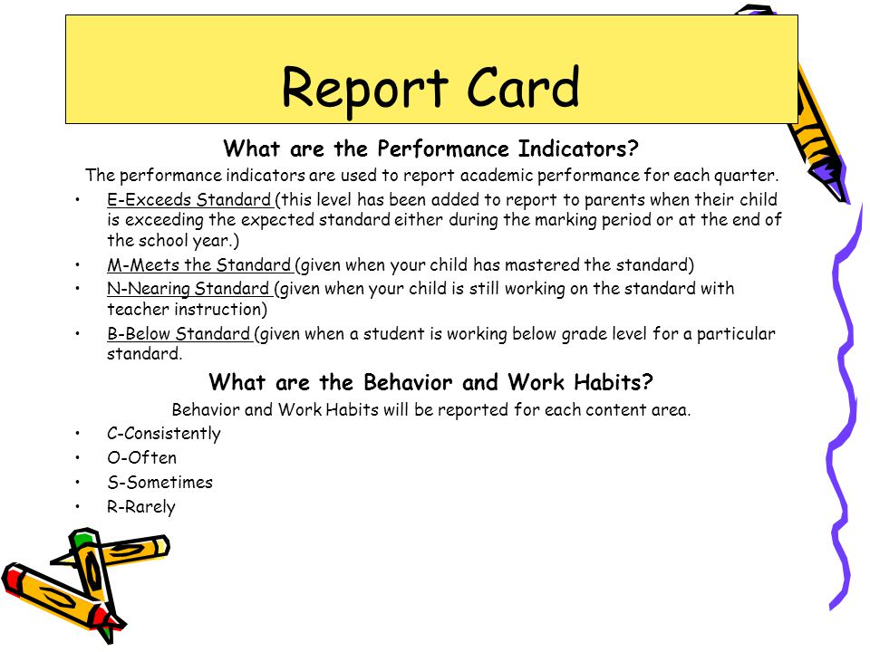 Report Card What are the Performance Indicators