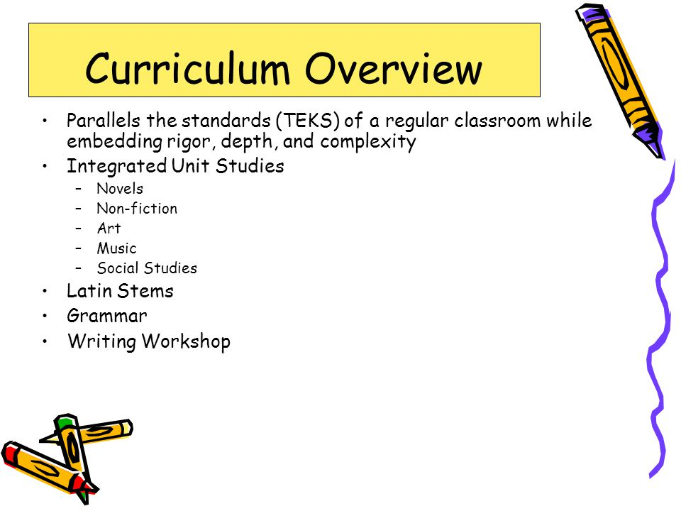 Curriculum Overview Parallels the standards (TEKS) of a regular classroom while embedding rigor, depth, and complexity.