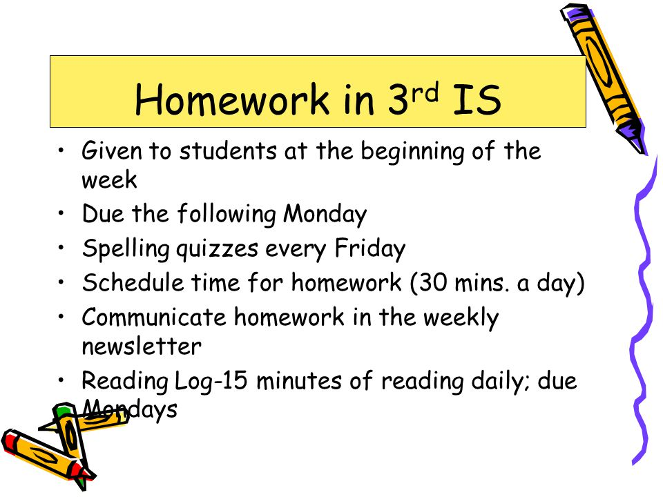 Homework in 3rd IS Given to students at the beginning of the week