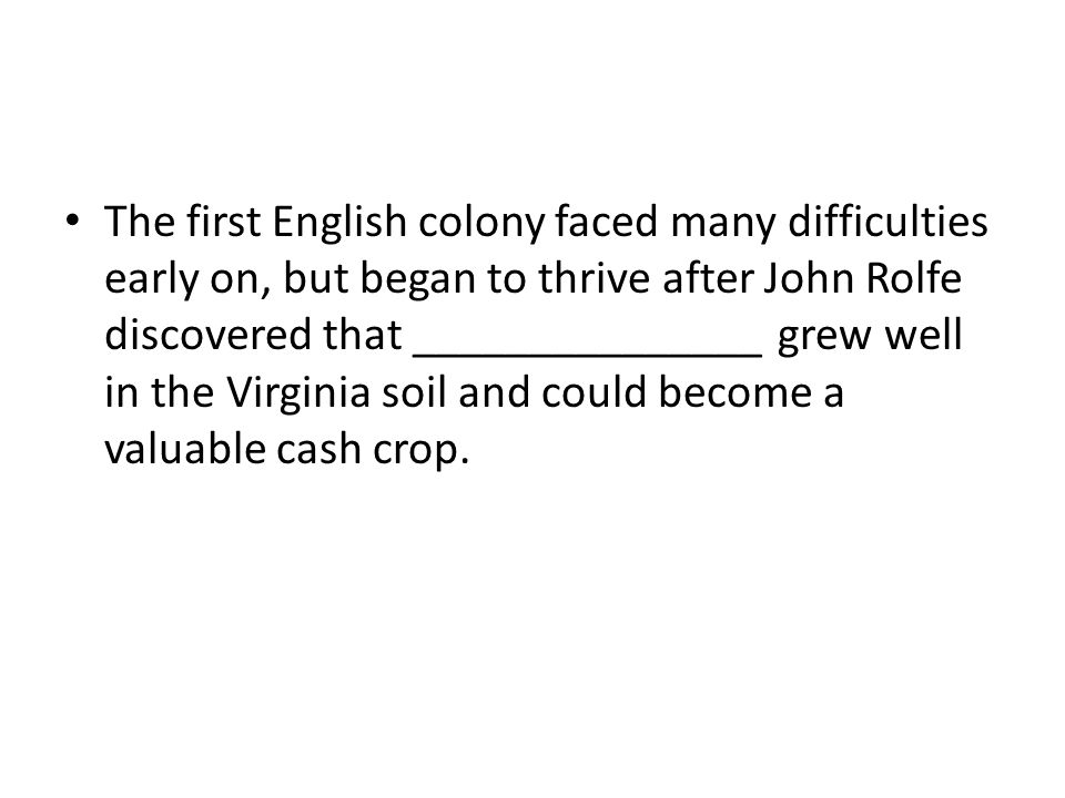 The first English colony faced many difficulties early on, but began to thrive after John Rolfe discovered that _______________ grew well in the Virginia soil and could become a valuable cash crop.