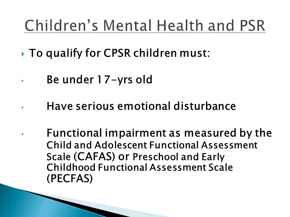 Children's Mental Health and PSR