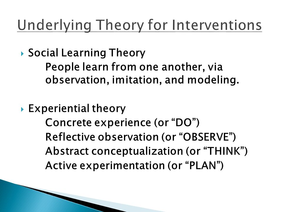 Underlying Theory for Interventions