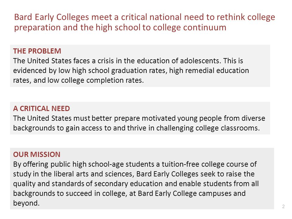 Bard Early Colleges meet a critical national need to rethink college preparation and the high school to college continuum