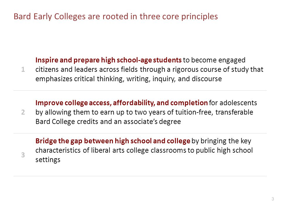 Bard Early Colleges are rooted in three core principles