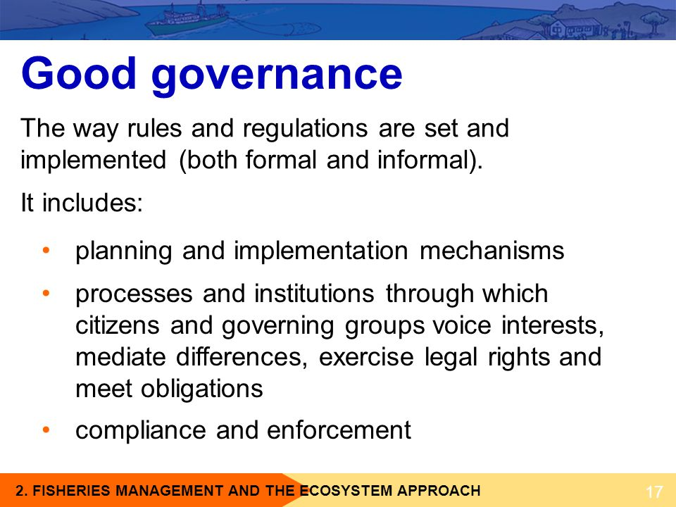 Good governance The way rules and regulations are set and implemented (both formal and informal). It includes: