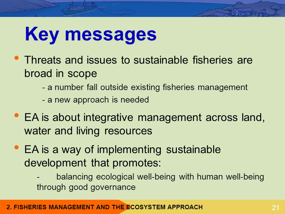 Key messages Threats and issues to sustainable fisheries are broad in scope. - a number fall outside existing fisheries management.