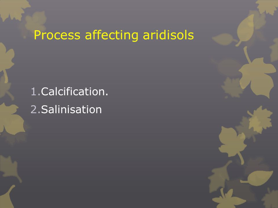 Process affecting aridisols