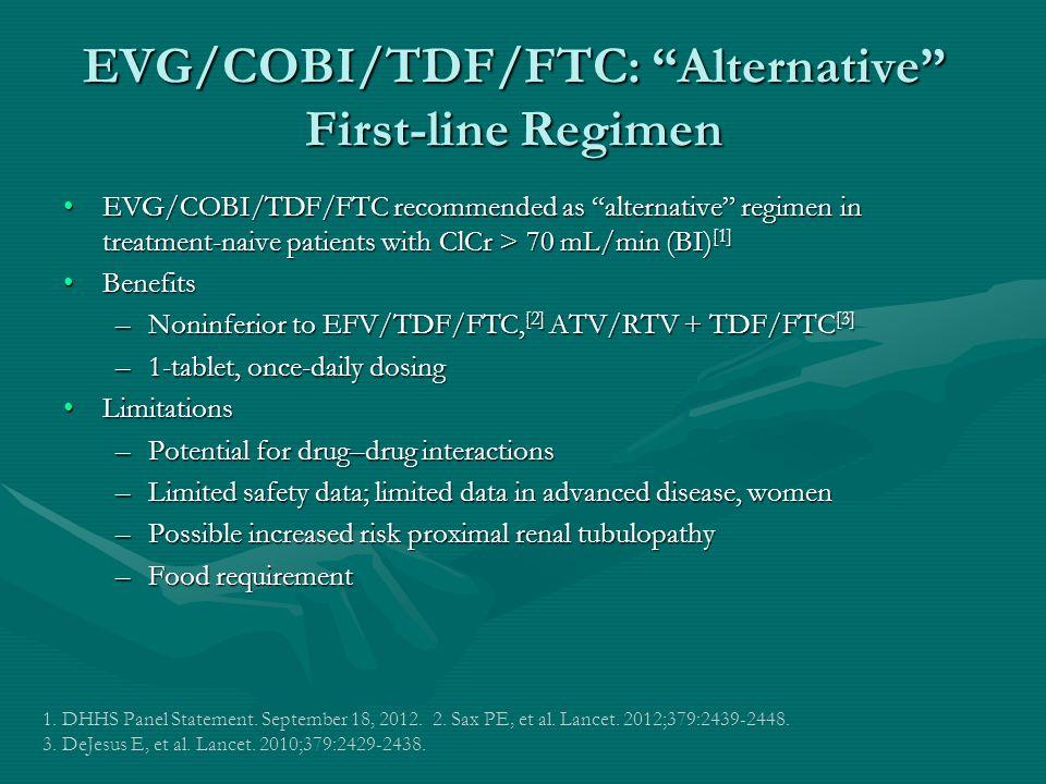 EVG/COBI/TDF/FTC: Alternative First-line Regimen