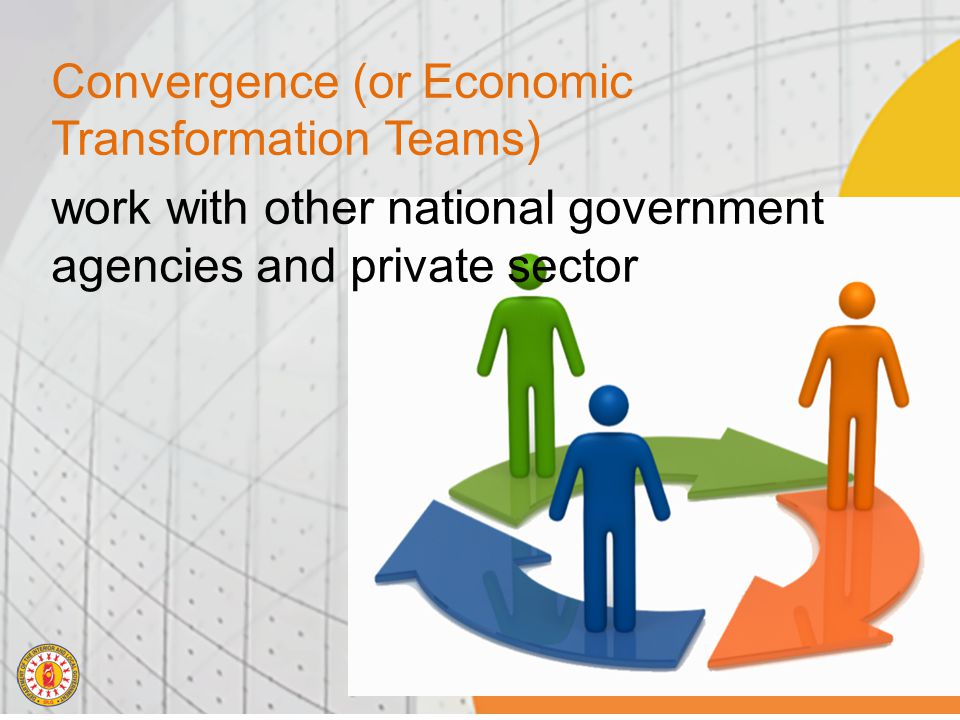 Convergence (or Economic Transformation Teams) work with other national government agencies and private sector