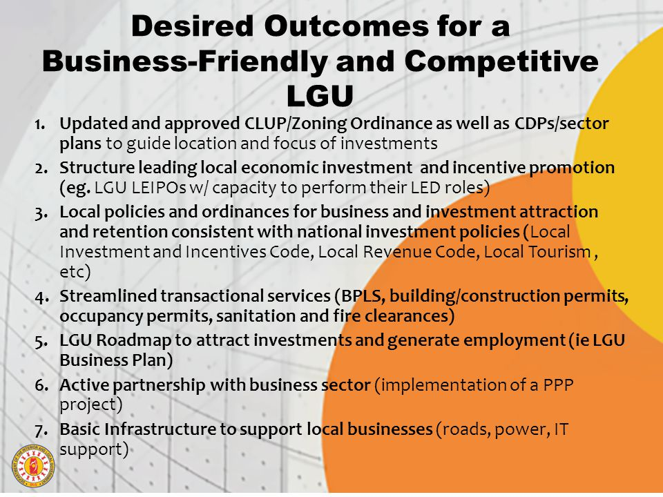Desired Outcomes for a Business-Friendly and Competitive LGU
