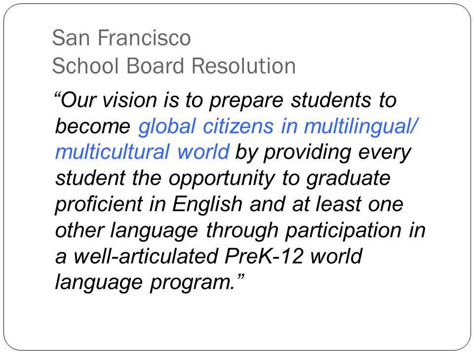 San Francisco School Board Resolution