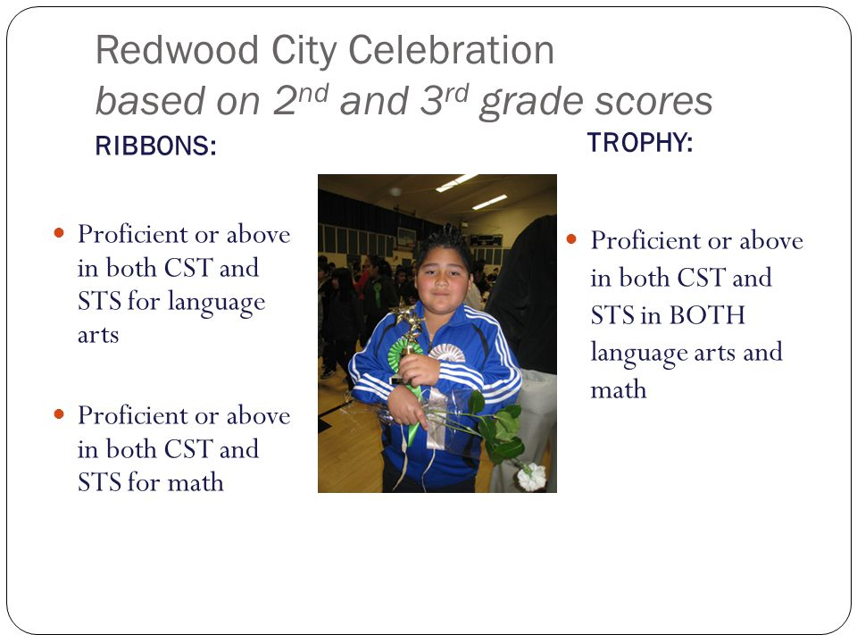 Redwood City Celebration based on 2nd and 3rd grade scores