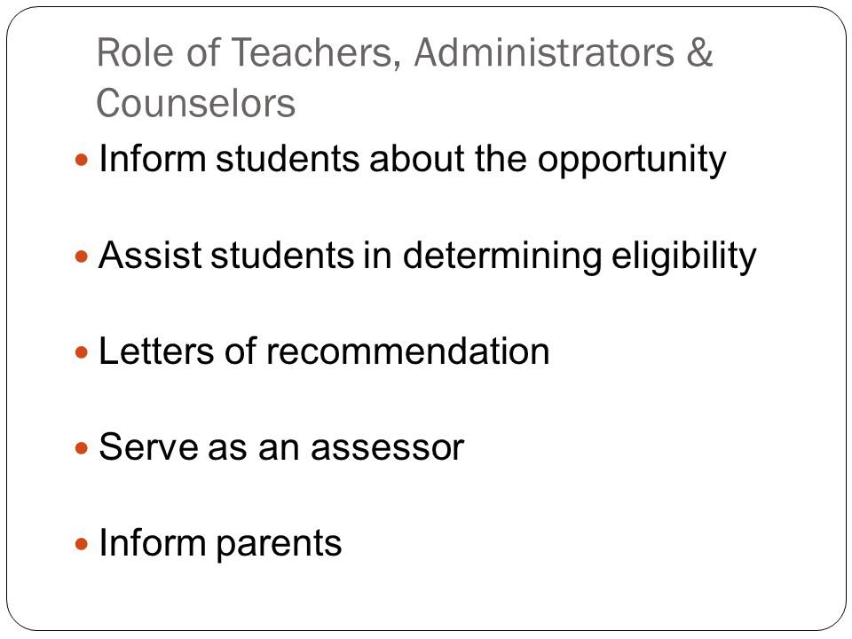 Role of Teachers, Administrators & Counselors