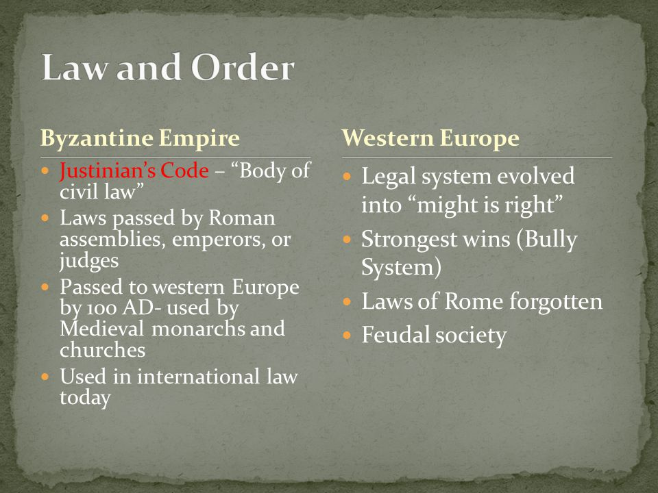Law and Order Byzantine Empire Western Europe