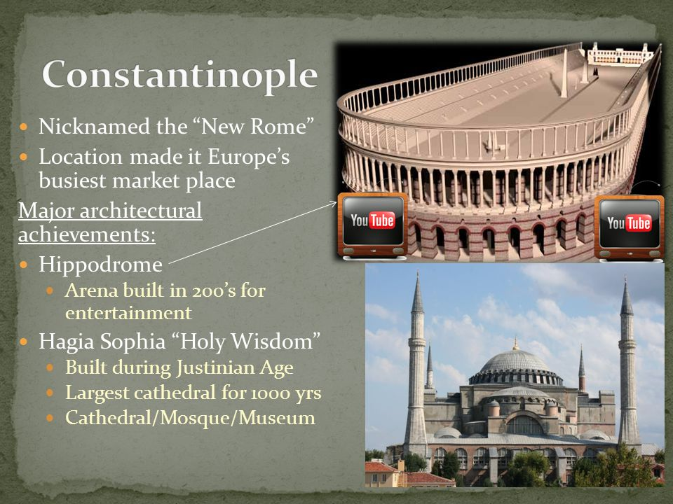 Constantinople Nicknamed the New Rome