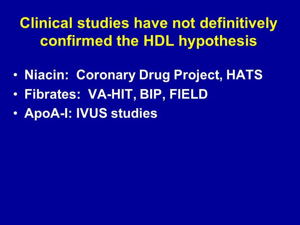 Clinical studies have not definitively confirmed the HDL hypothesis