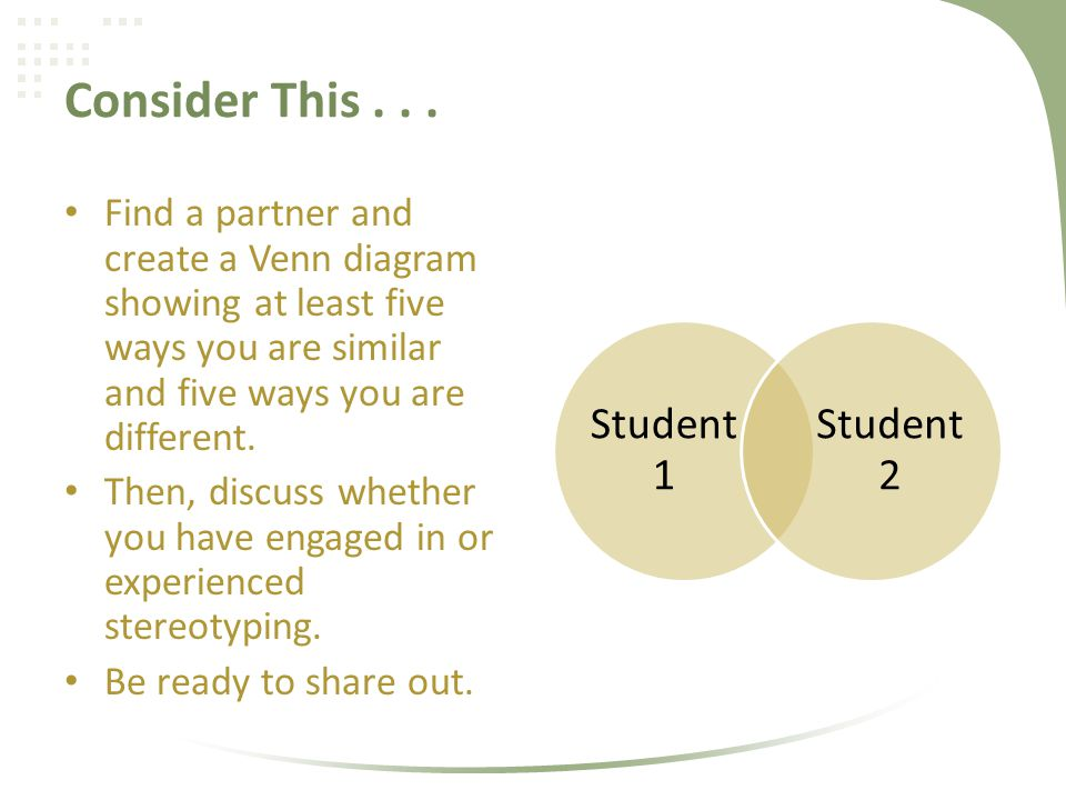 Consider This . . . Find a partner and create a Venn diagram showing at least five ways you are similar and five ways you are different.