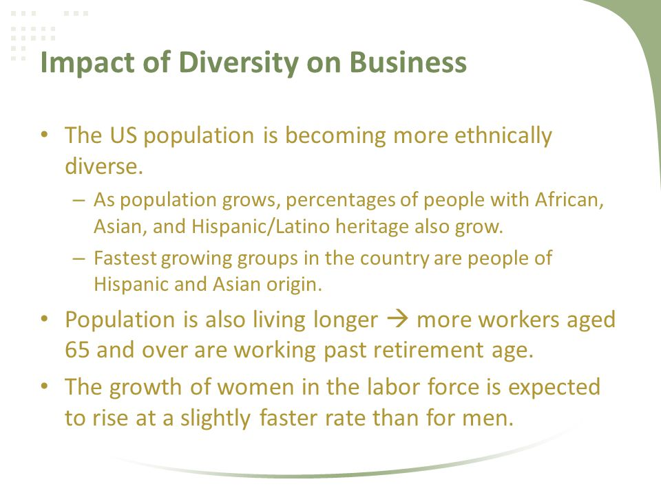 the effects of diversity on business The study is part of a fascinating new portrait of diversity emerging from recent scholarship diversity, it shows, makes us uncomfortable -- but discomfort, it turns out, isn't always a bad thing.