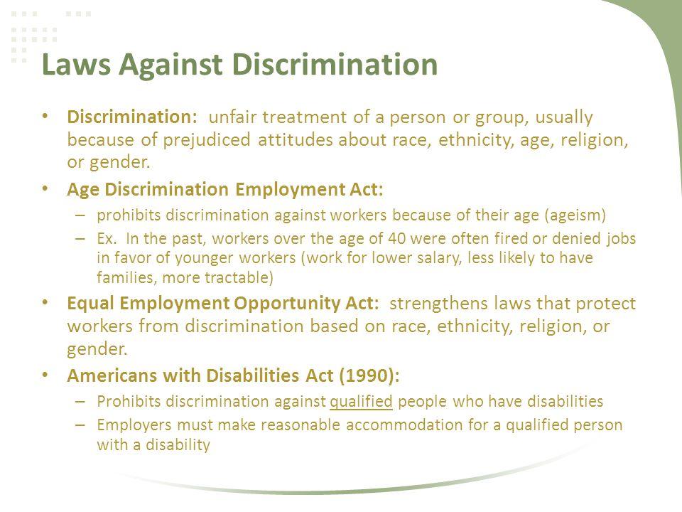 Laws Against Discrimination