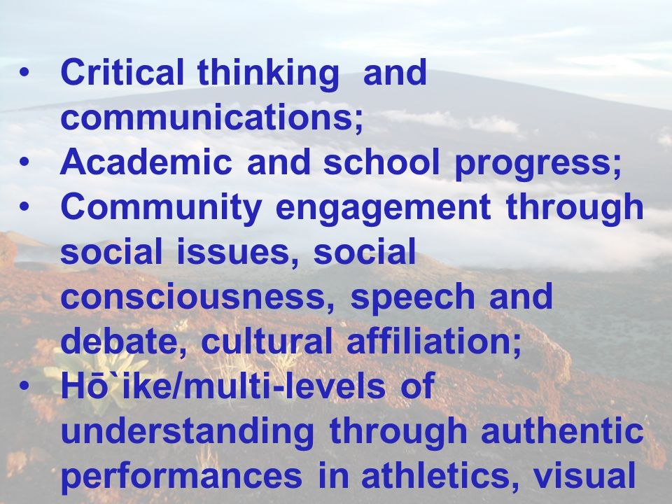 Critical thinking and communications;