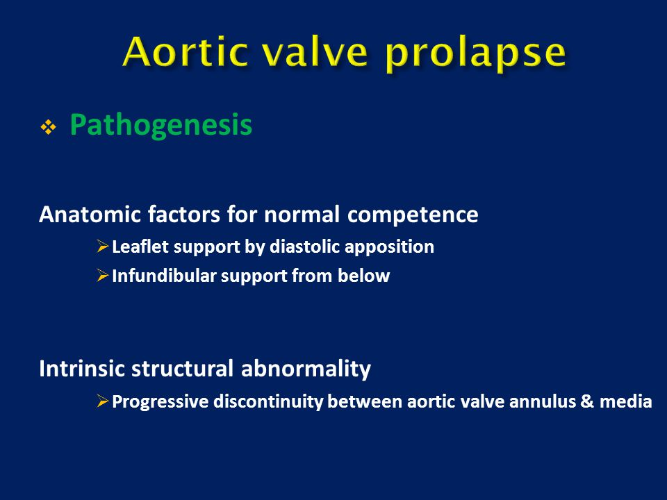 Aortic valve prolapse Pathogenesis
