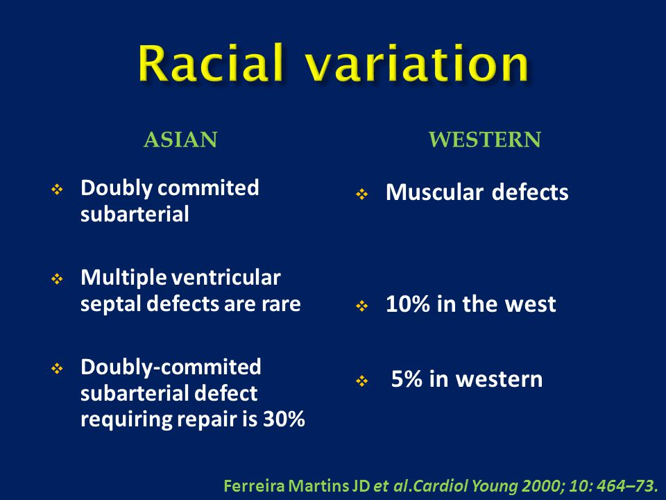 Racial variation Muscular defects 10% in the west 5% in western
