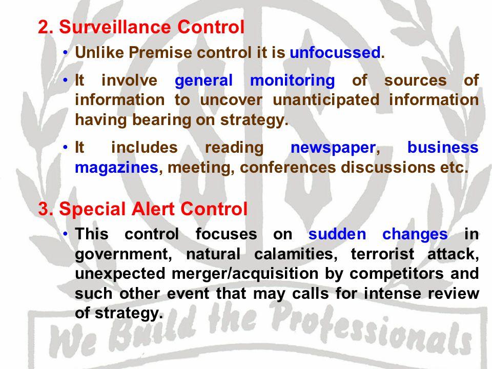 2. Surveillance Control 3. Special Alert Control