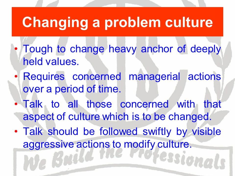 Changing a problem culture