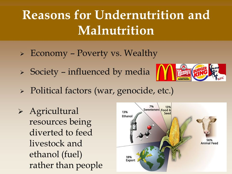 Reasons for Undernutrition and Malnutrition