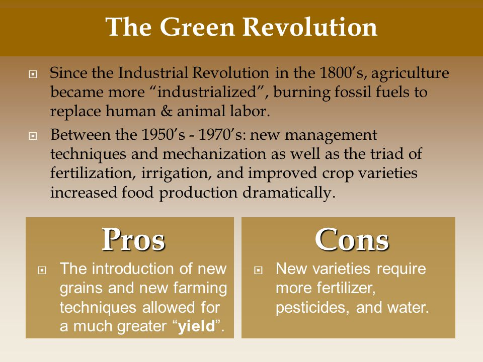 Pros Cons The Green Revolution