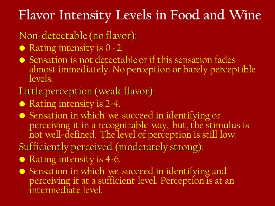 Flavor Intensity Levels in Food and Wine