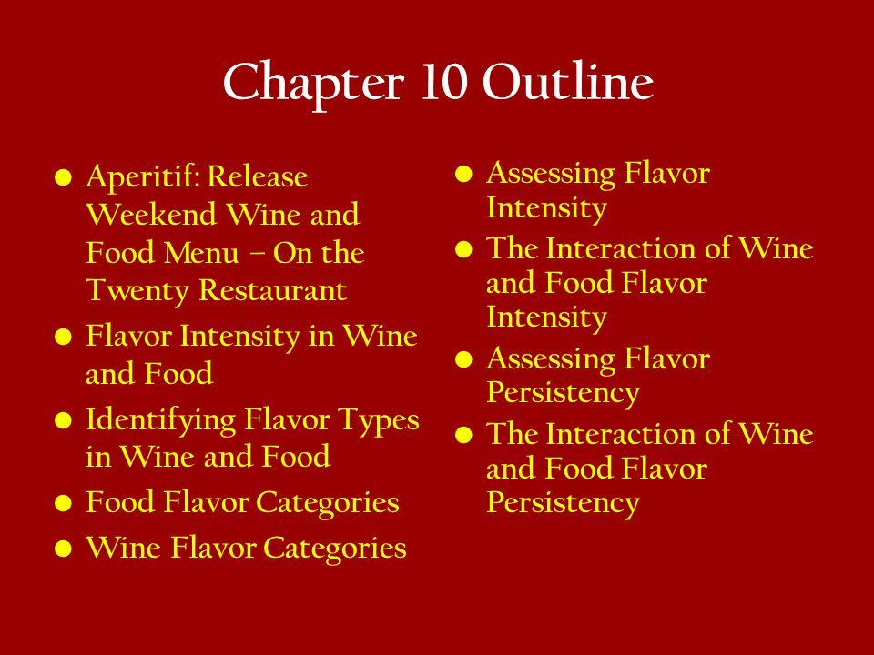 Chapter 10 Outline Aperitif: Release Weekend Wine and Food Menu – On the Twenty Restaurant. Flavor Intensity in Wine and Food.