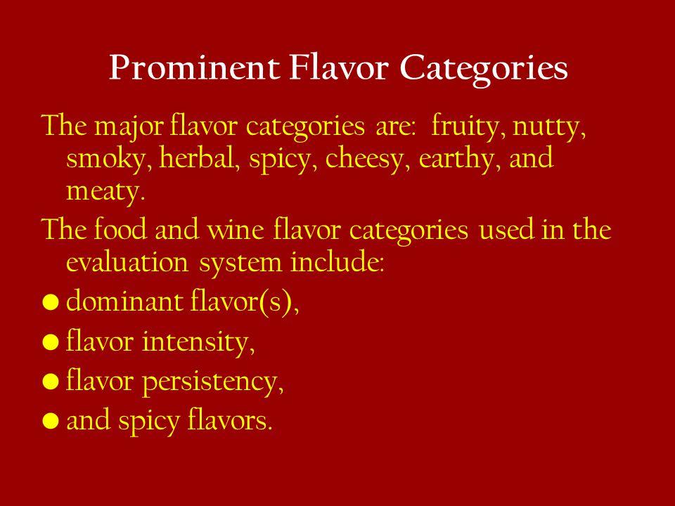 Prominent Flavor Categories