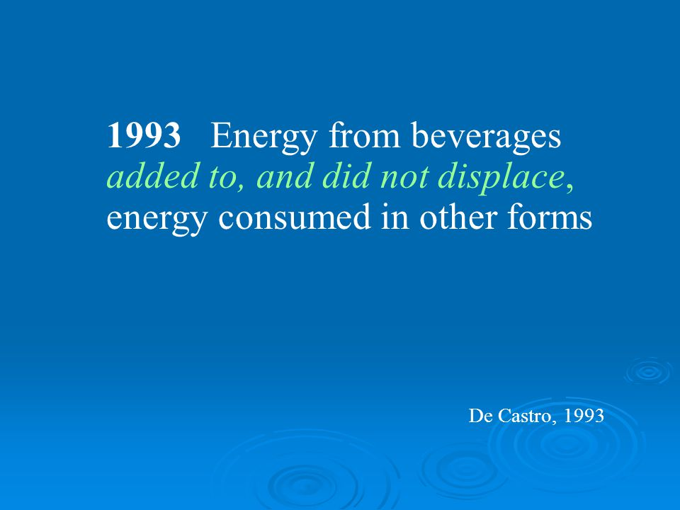 1993 Energy from beverages added to, and did not displace, energy consumed in other forms